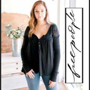 Free People black casual top XS NWT